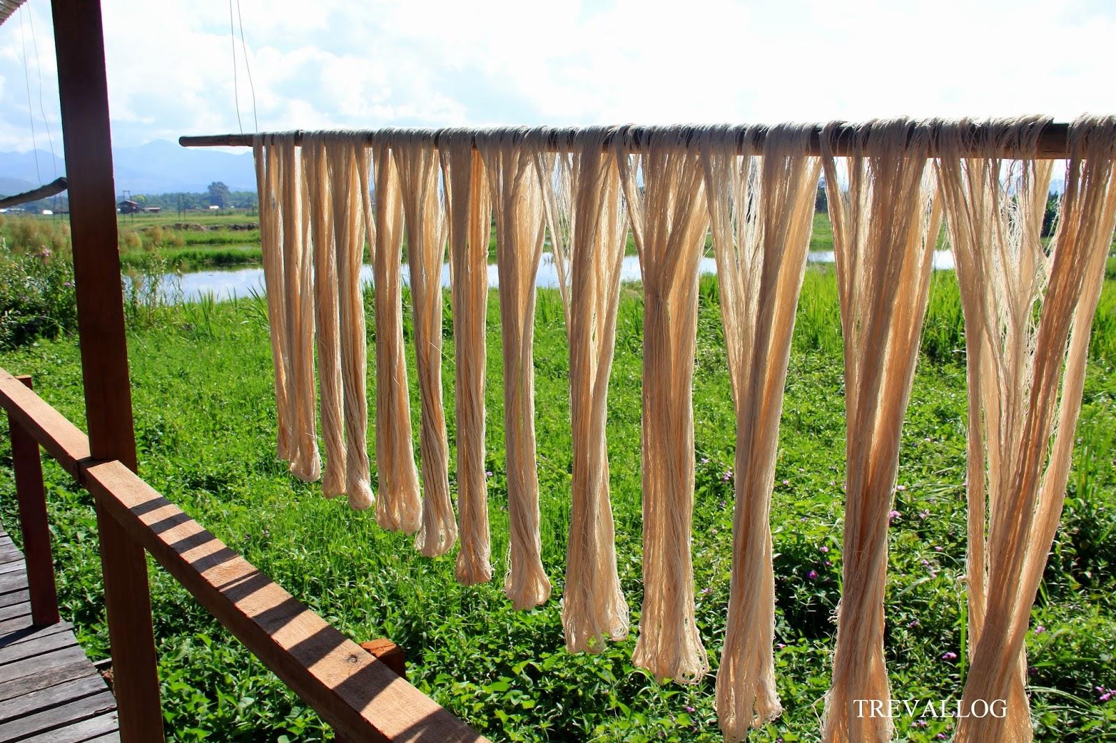 Weaving material, Inle Lake, Myanmar