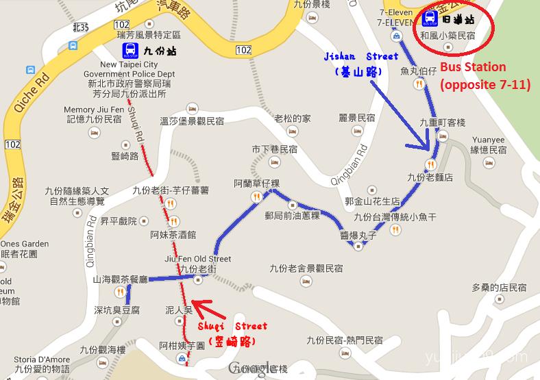 jiufen old street map on google maps