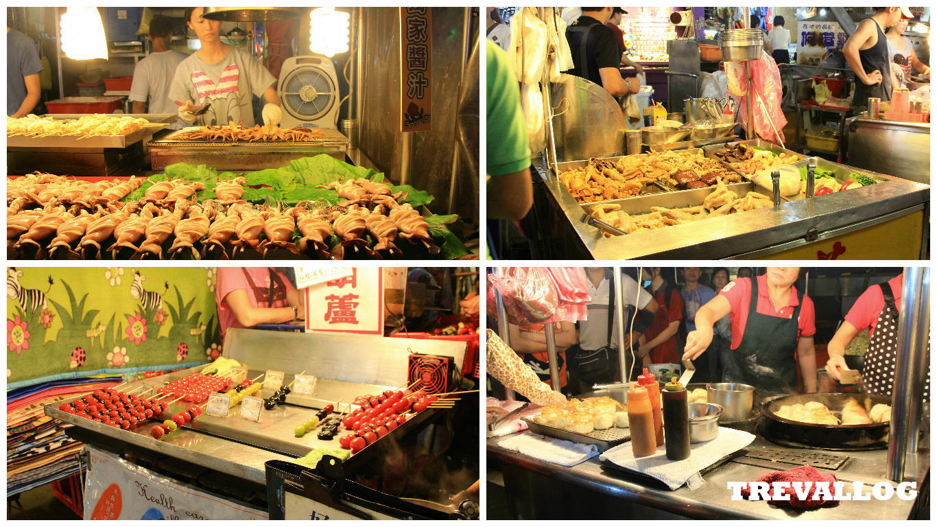 Food Stalls in Miaokou Night Market, Keelung, Taiwan
