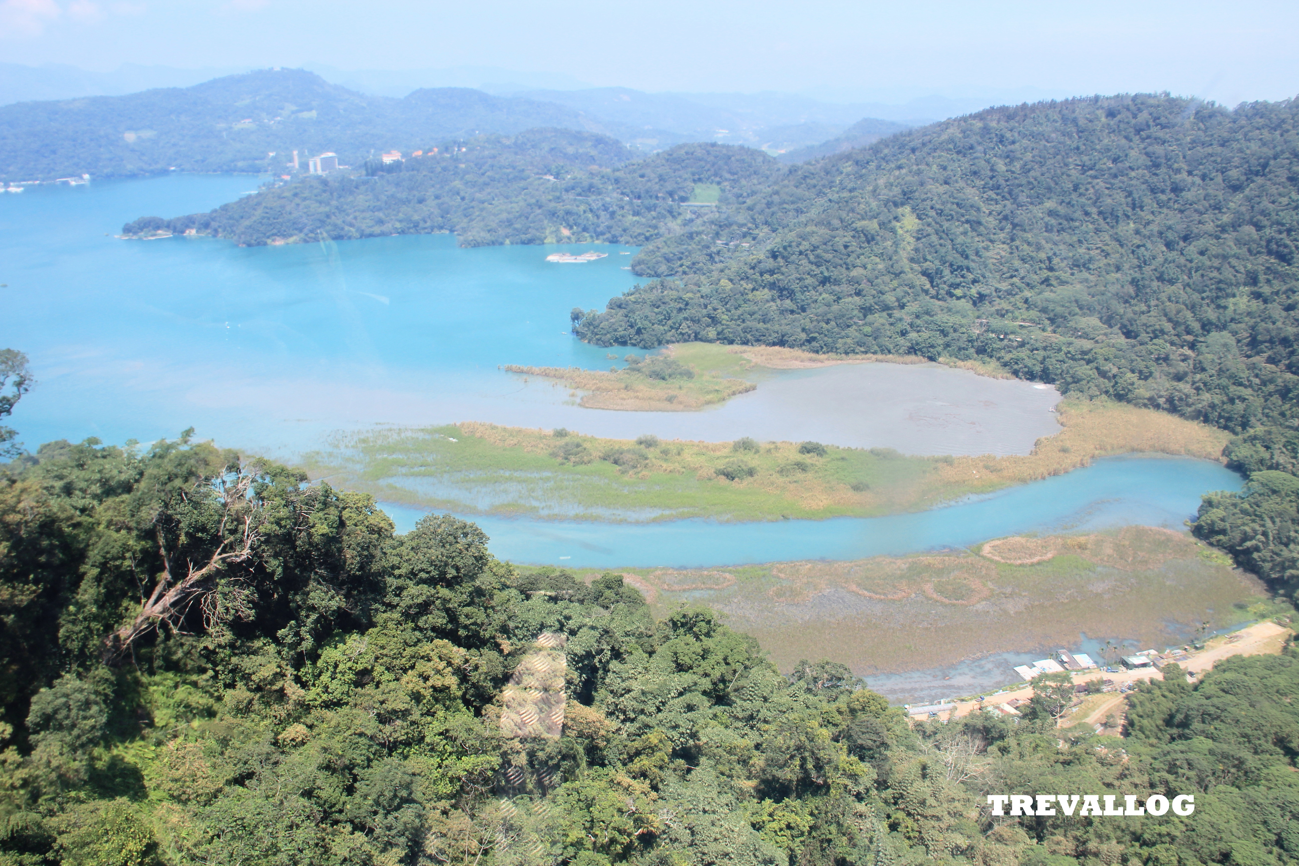 View from ropeway car, from Ita Thao to Formosan Aboriginal Cultural Village, at Sun Moon Lake, Taiwan