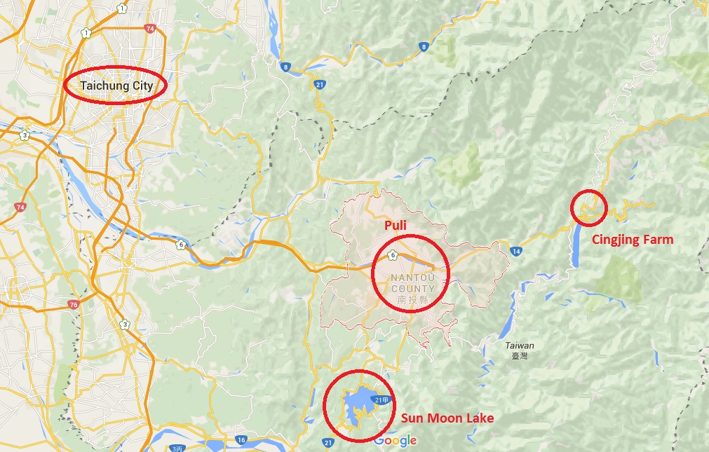 Location of Taichung, Puli, Cingjing and Sun Moon Lake (Taiwan)