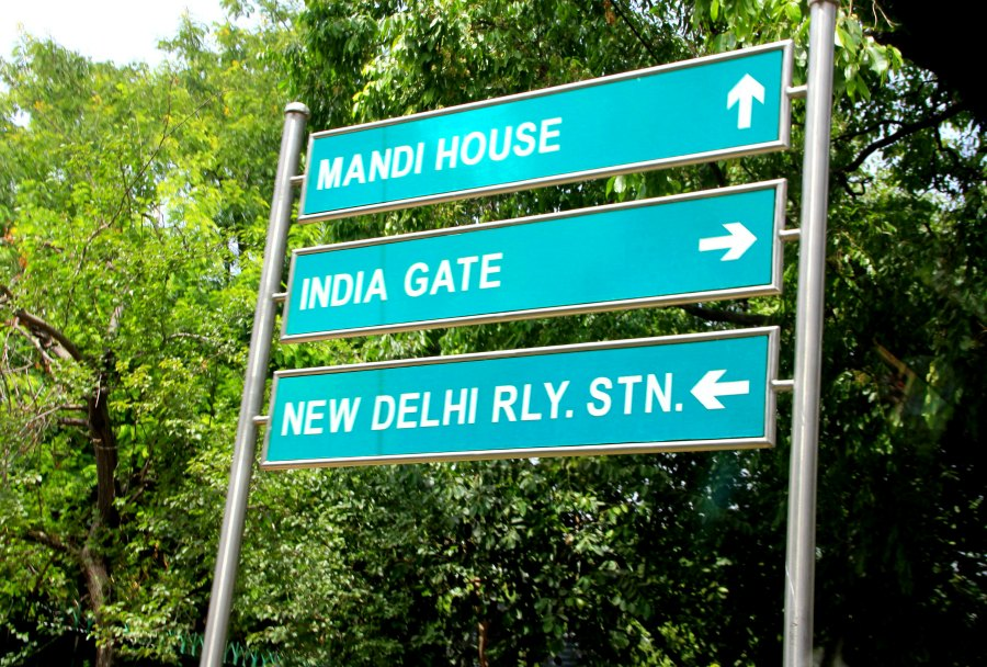 Road signs in New Delhi, India