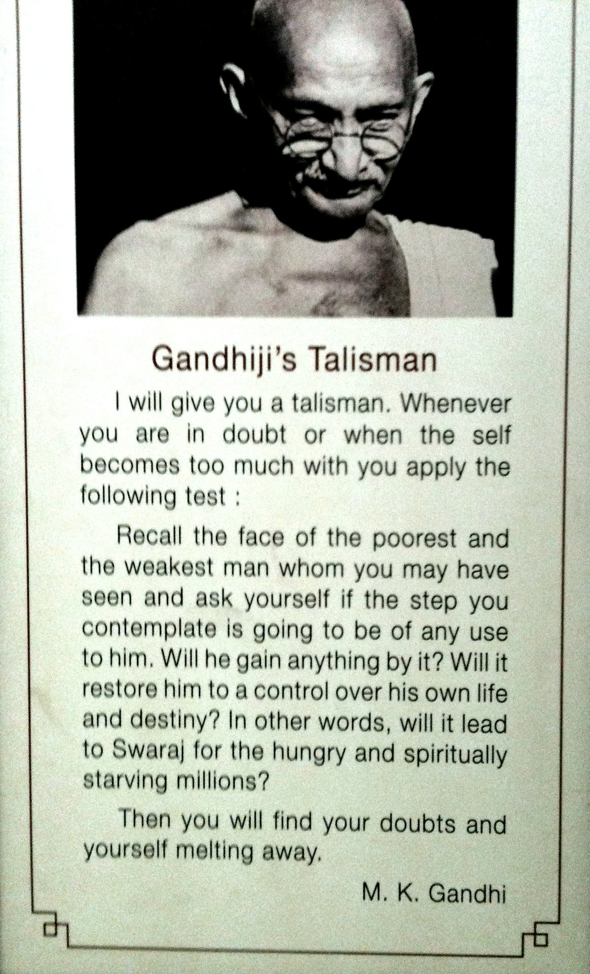 Gandhi's Talisman at Gandhi Memorial Museum, or National Gandhi Museum in New Delhi, India