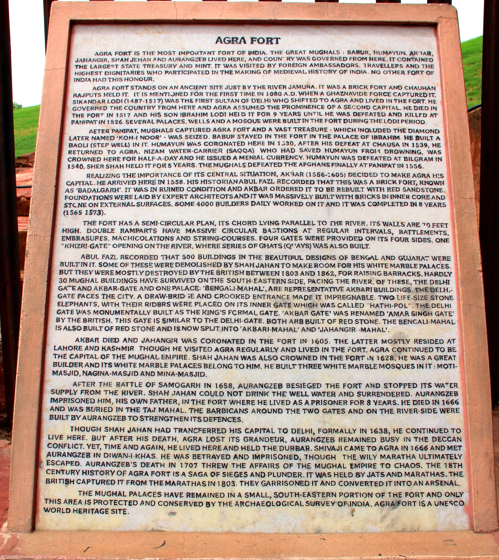 History of Agra Fort, Agra, India