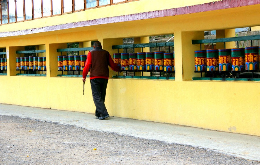 rotating the prayer wheels