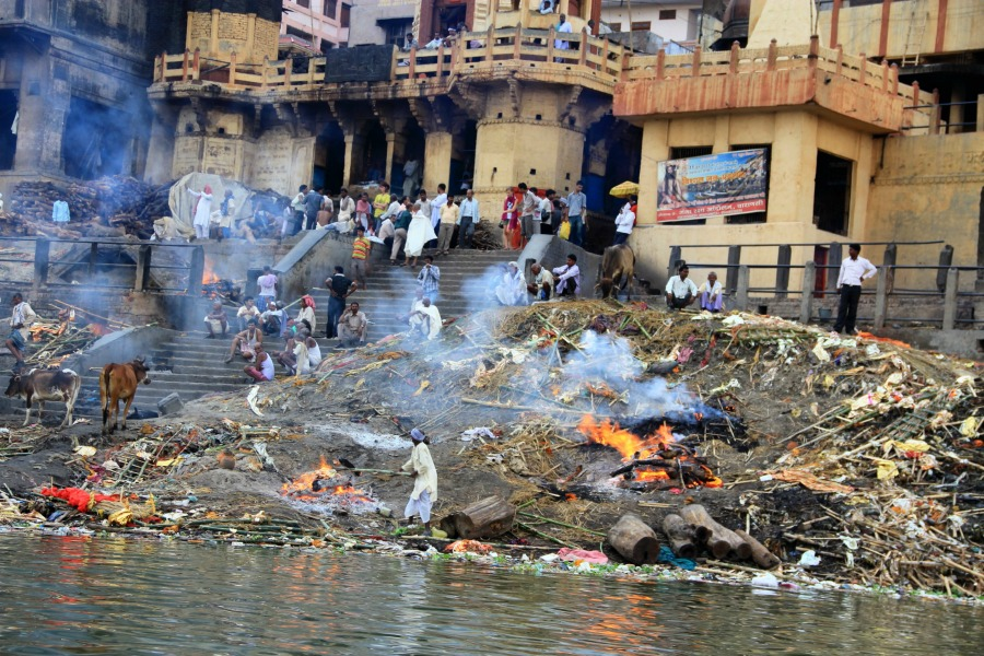 Cremation by the Ganga river, Varanasi, India