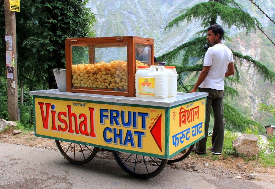 Fruit chaat snack food truck in Dharamkot, McLeod Ganj, Dharamsala, India