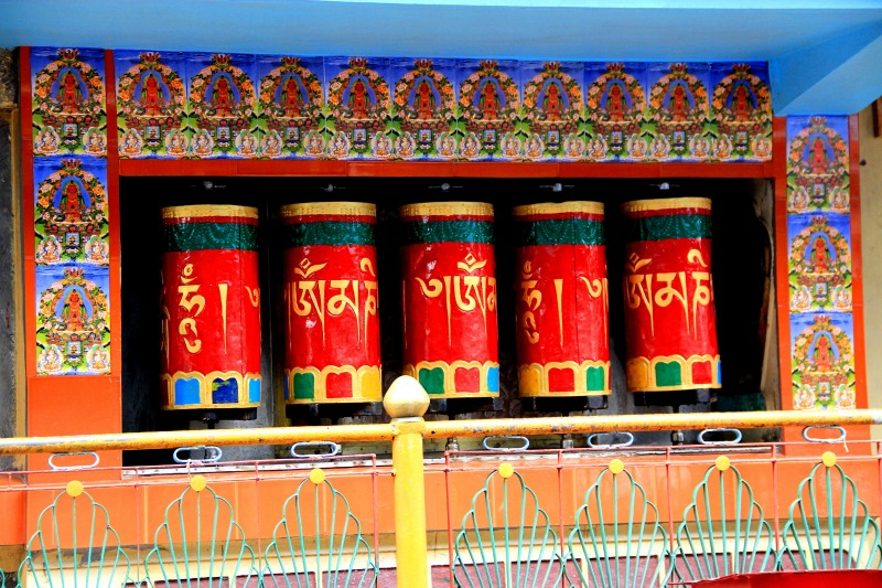 Prayer wheels at Kalachakra Temple at McLeod Ganj, Dharamsala, India