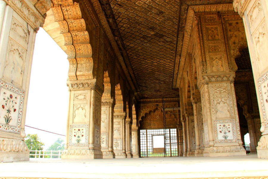 Marble building inside Red Fort in New Delhi, India