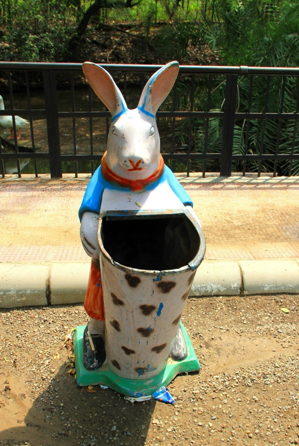 Cute rabbit rubbish bin at National Zoological Park at New Delhi, India