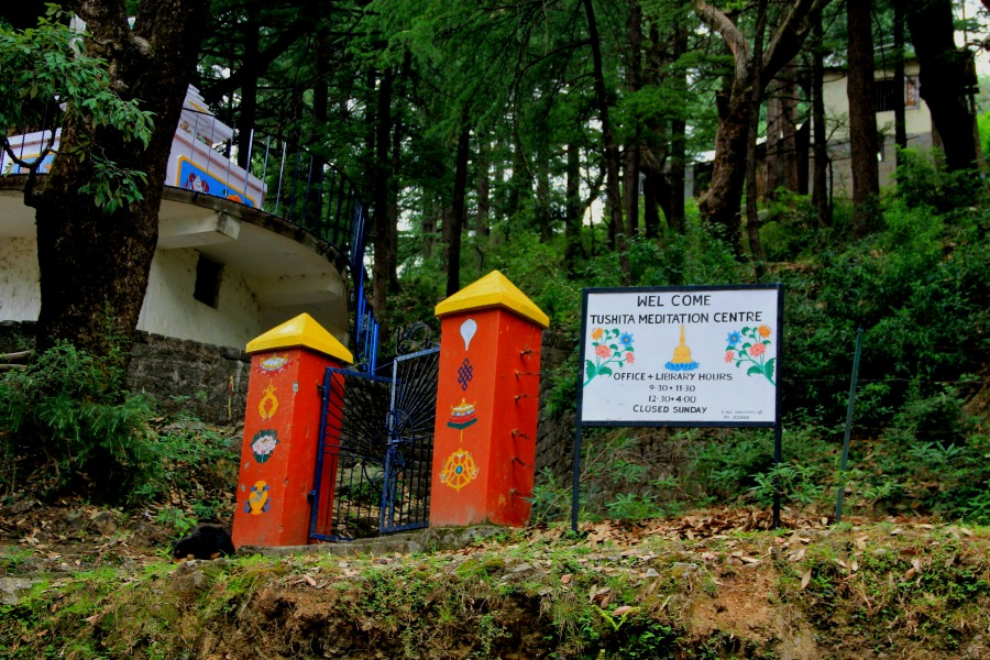 Gate of Tushita Meditation Centre, McLeod Ganj, Dharamsala, India