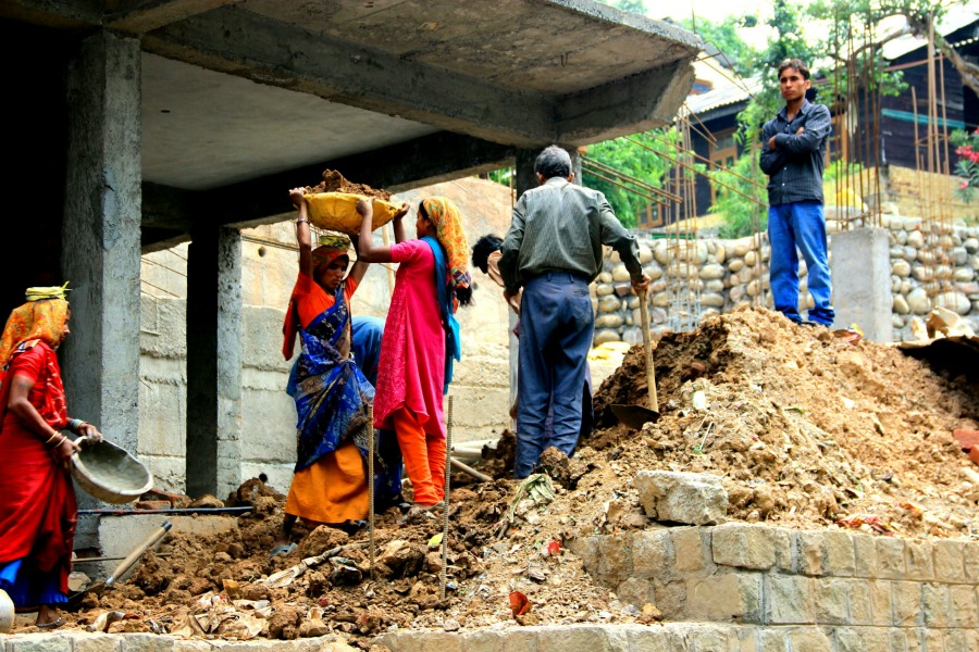 Women construction worker at McLeod Ganj, Dharamsala, India