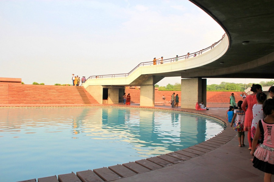 Lake/pool at Bahai Lotus Temple in New Delhi, India