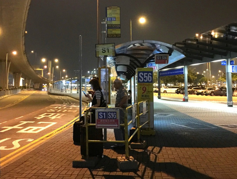 Bus stand for S1 bus at Hong Kong International Airport. Bus S1 goes to Tung Chung MTR station.