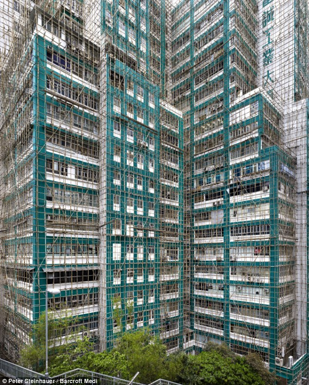 Bamboo scaffolding for high rise construction at Hong Kong