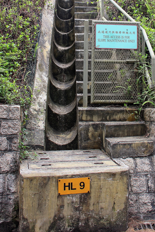 Slope maintenance access at Peak Circle Walk, Hong Kong