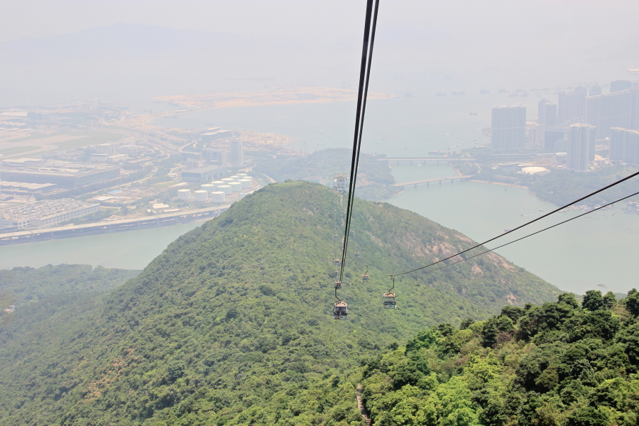 Ngong Ping 360 cable car, with HK aiport in background, Hong Kong