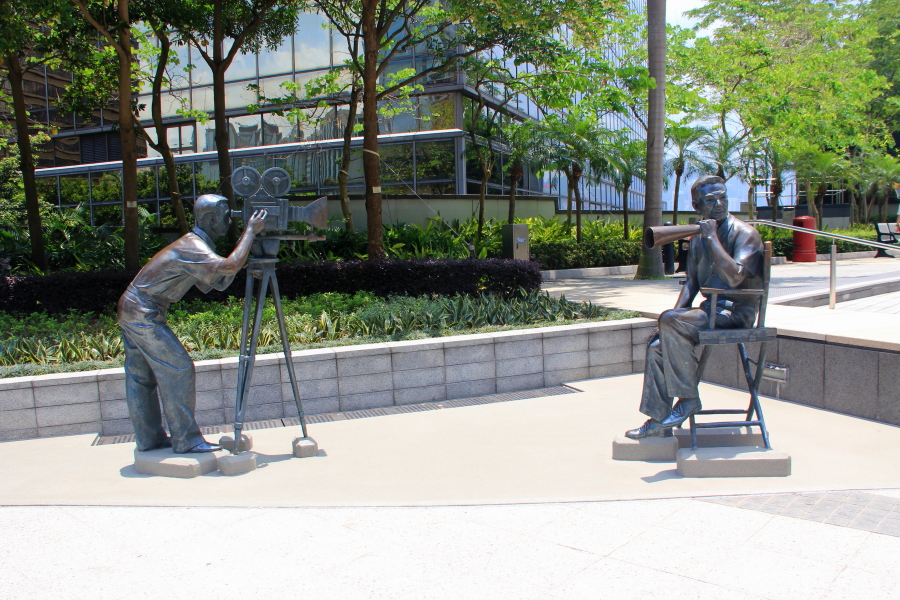 Filming location sculptures at Garden of Stars, Victoria Harbour, Tsim Sha Tsui, Hong Kong
