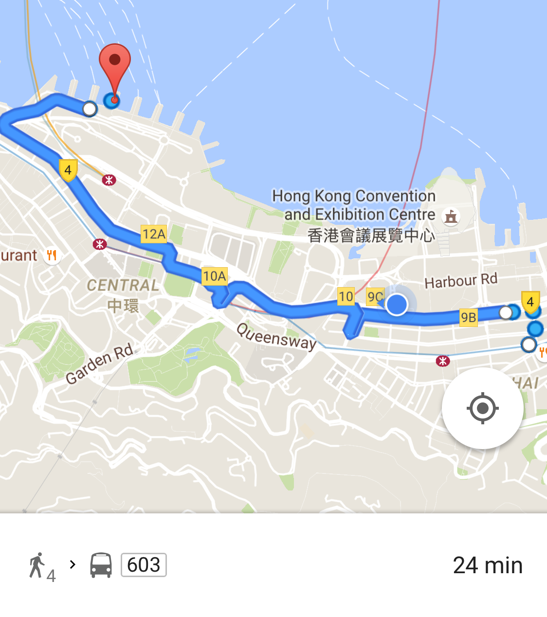 Google Maps suggestion on how to go from Wan Chai to Central Ferry Pier