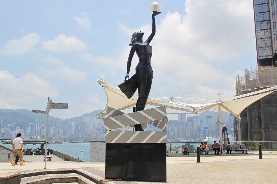 HK Film Awards sculpture at Garden of Stars, Victoria Harbour, Tsim Sha Tsui, Hong Kong