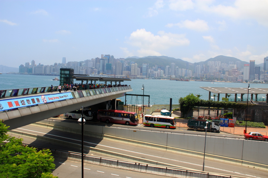 View of Victoria Harbour and Hong Kong Skyline at Garden of Stars, Tsim Sha Tsui, Hong Kong