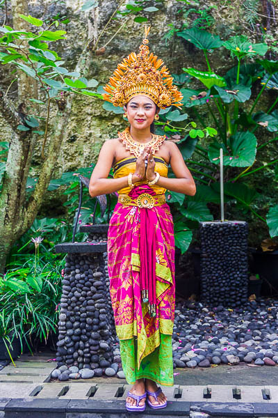 Beautiful woman in traditional costume at Garuda Wisnu Kencana GWK, Bali
