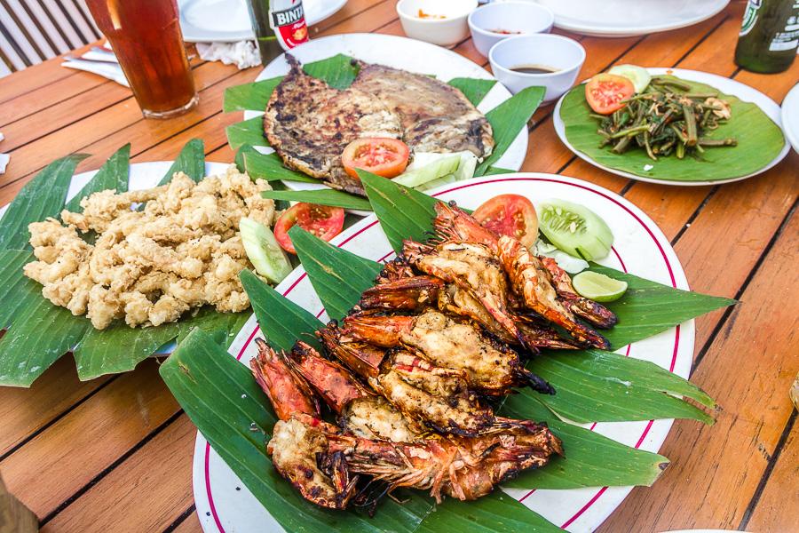 prawn, calamari, fish, seafood, Menega Cafe, Muaya Beach, Jimbaran, Bali