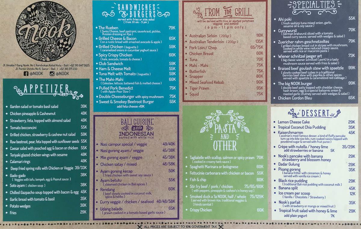 Bali Cafe Seminyak Menu