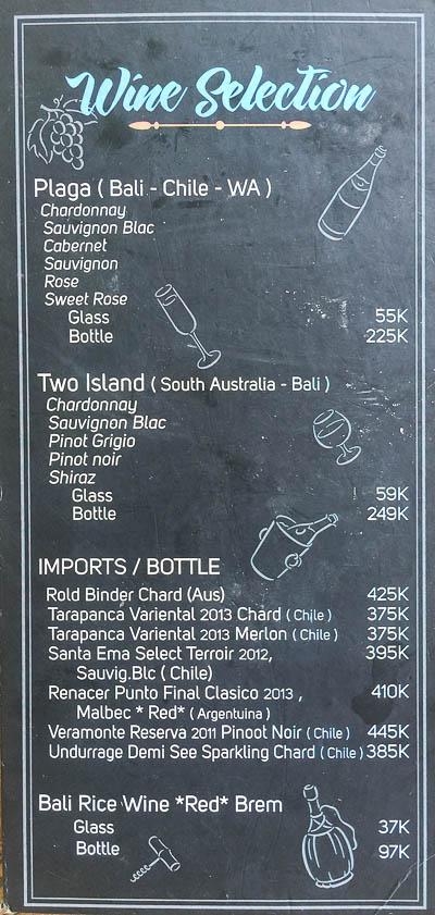 Nook Wine Menu, Umalas, Seminyak, Bali