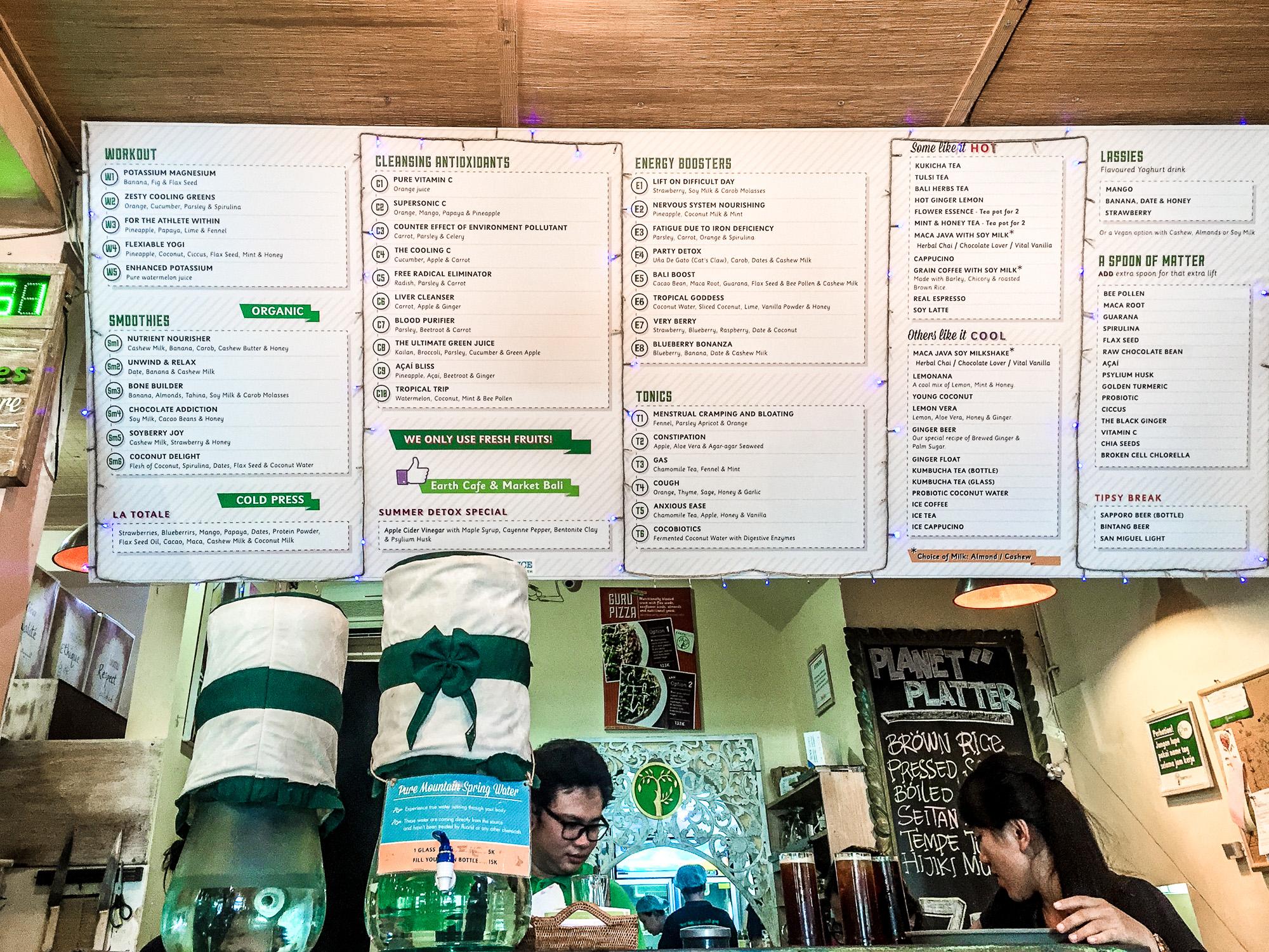 Drink menu, Earth Cafe & Market, Seminyak, Bali