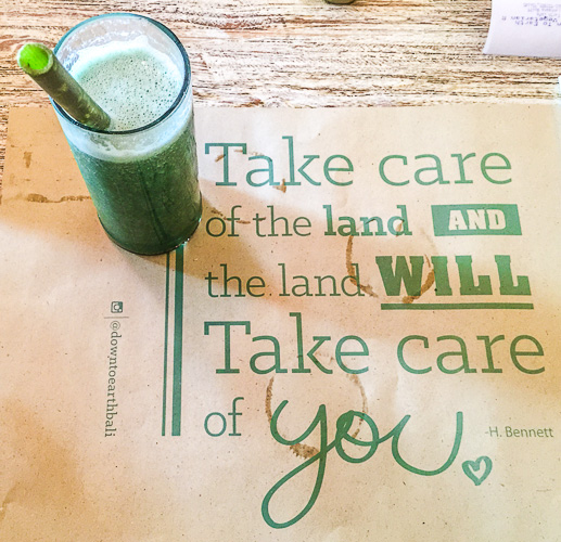 Drink and quotes at Earth Cafe & Market, Seminyak, Bali