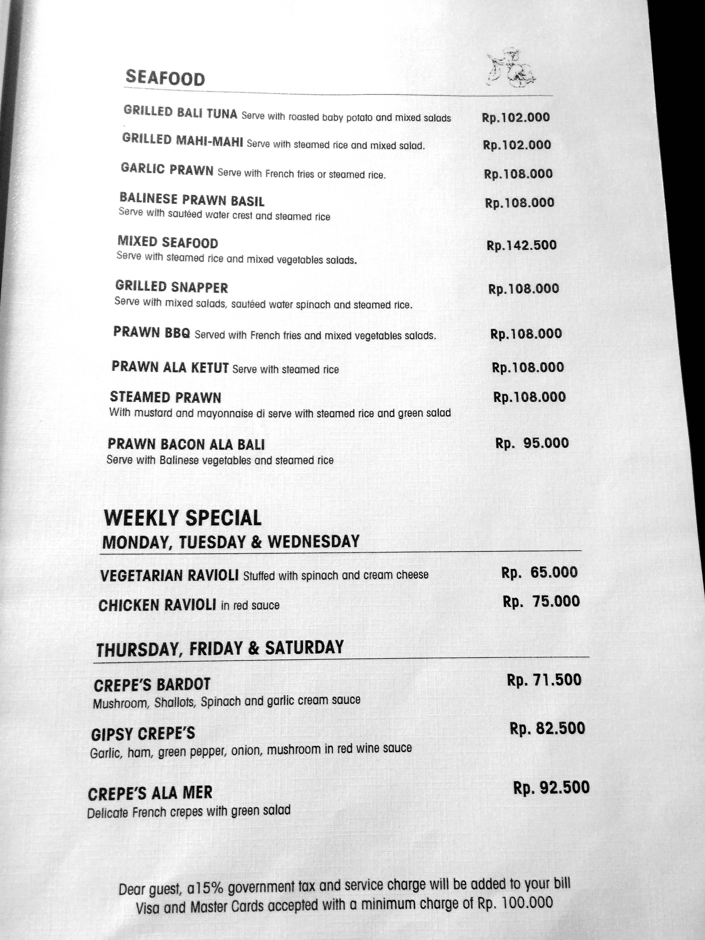 Cafe Wayan Menu - Seafood