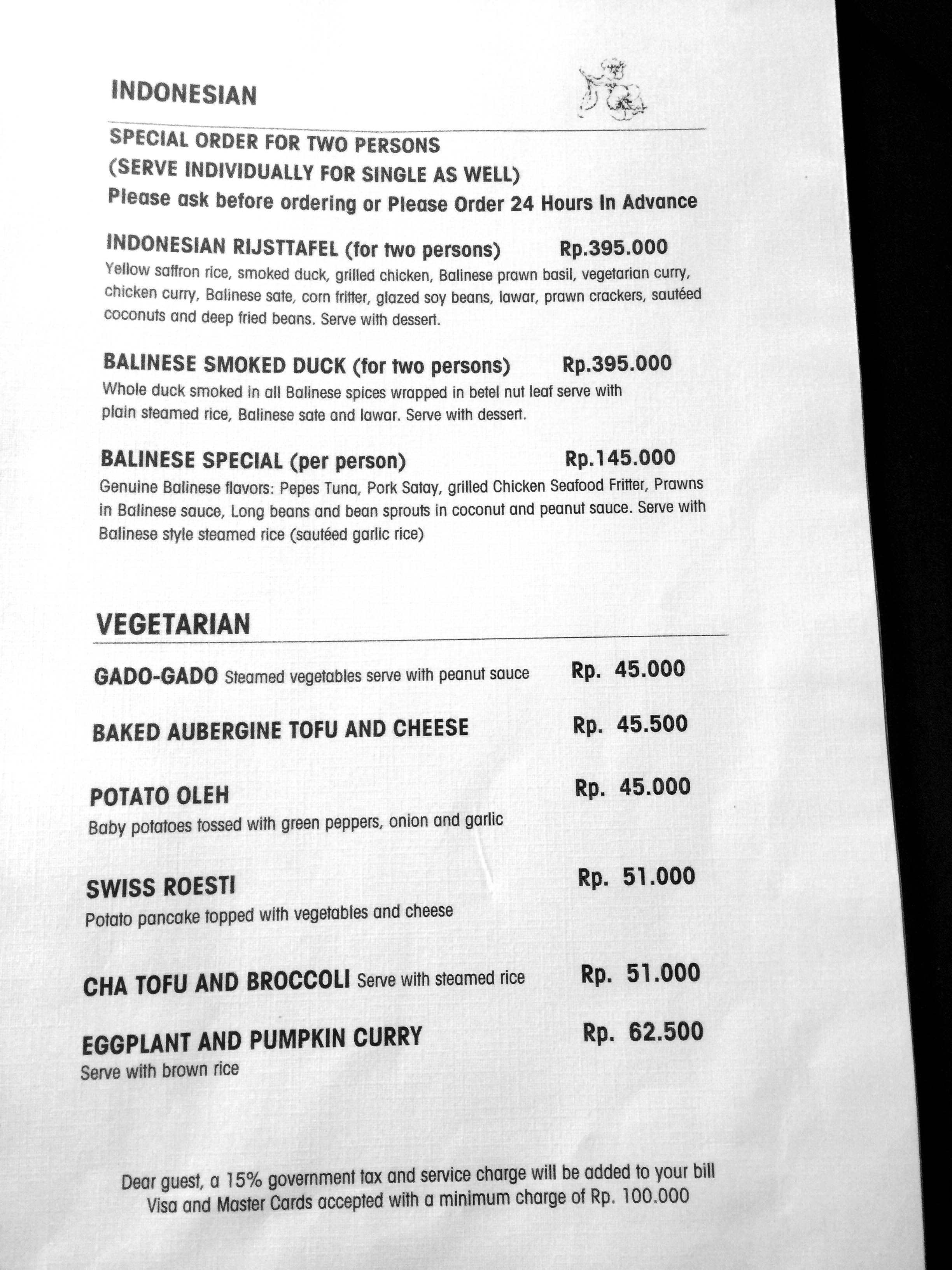 Cafe Wayan Menu - Indo, Vegetarians