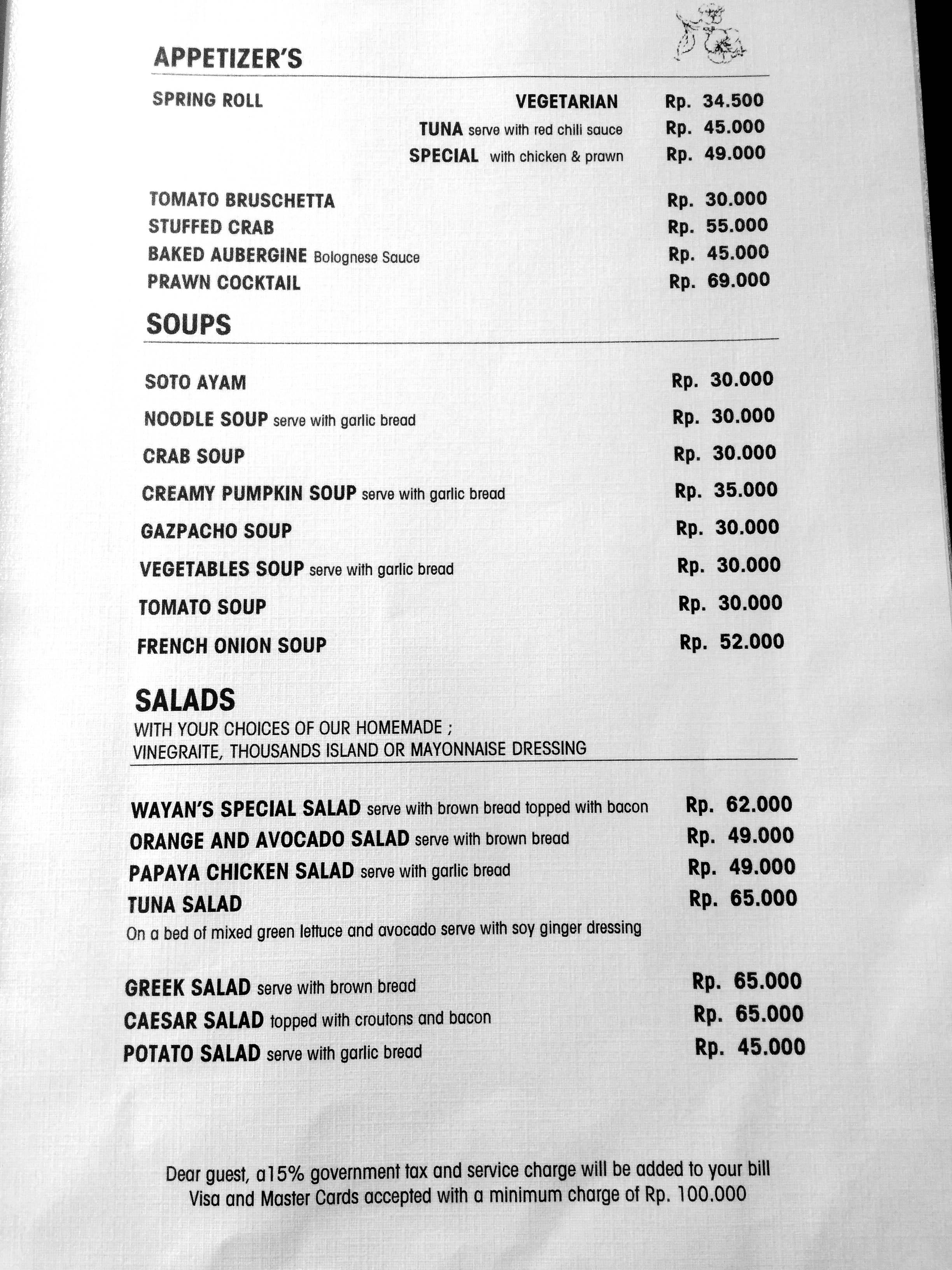 Cafe Wayan Ubud Menu