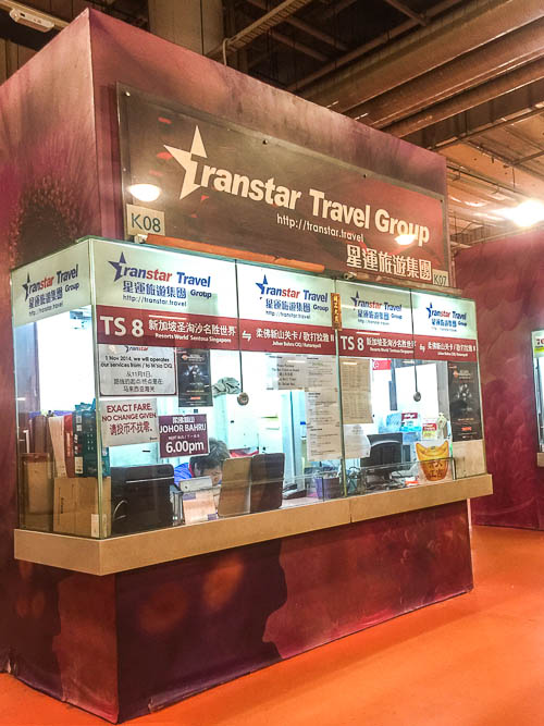 Transtar counter for Bus TS8 from resort world sentosa singapore to johor bahru