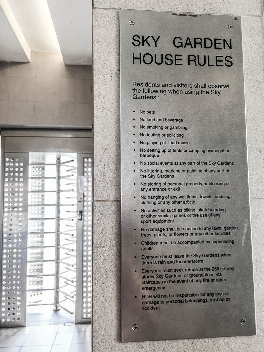 The rules of Sky Garden. Notice the turnstile gate where you have to tap your EZ-Link at card reader in order to access the Sky Garden at Pinnacle @ Duxton
