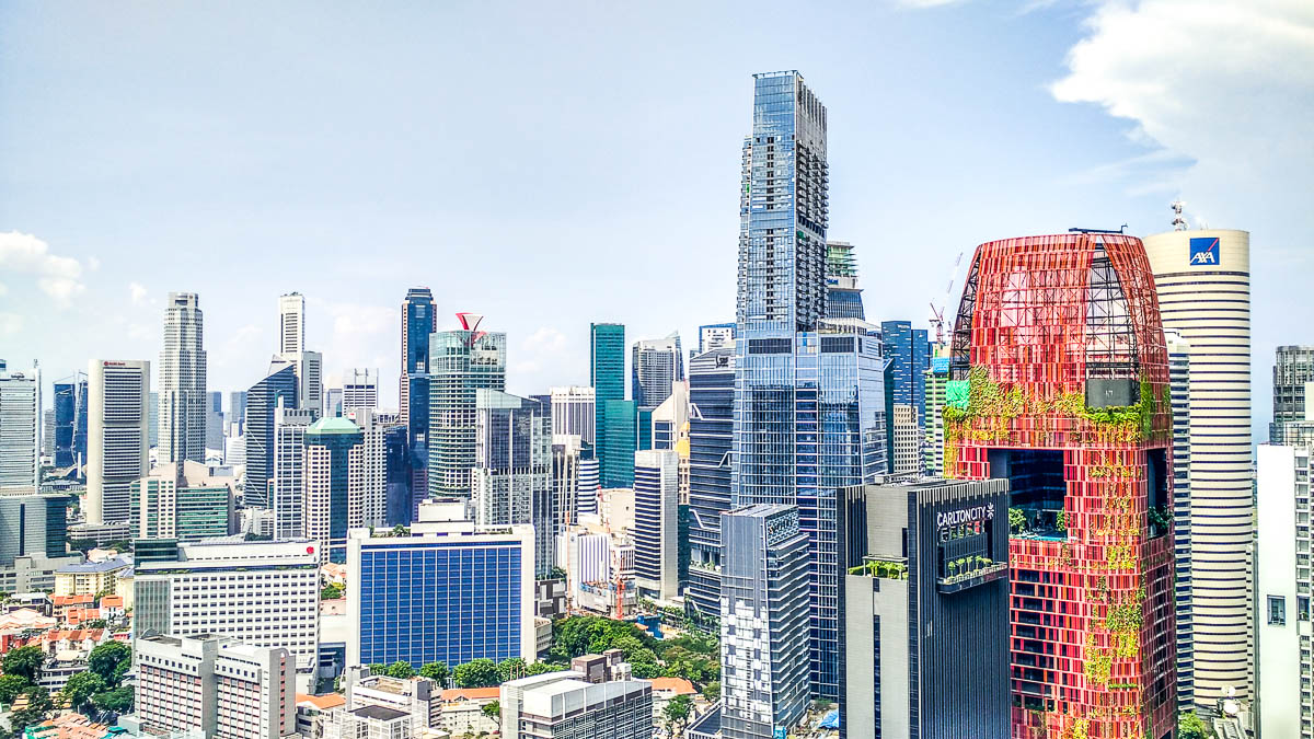 Singapore's skyline view of Central Business District at Tanjong Pagar and Raffles Place