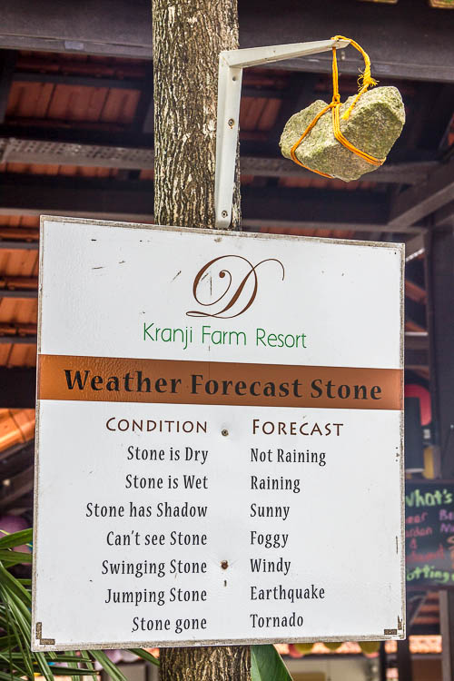 Weather Forecast Stone at D'Kranji Farm Resort at Kranji Countryside, Singapore
