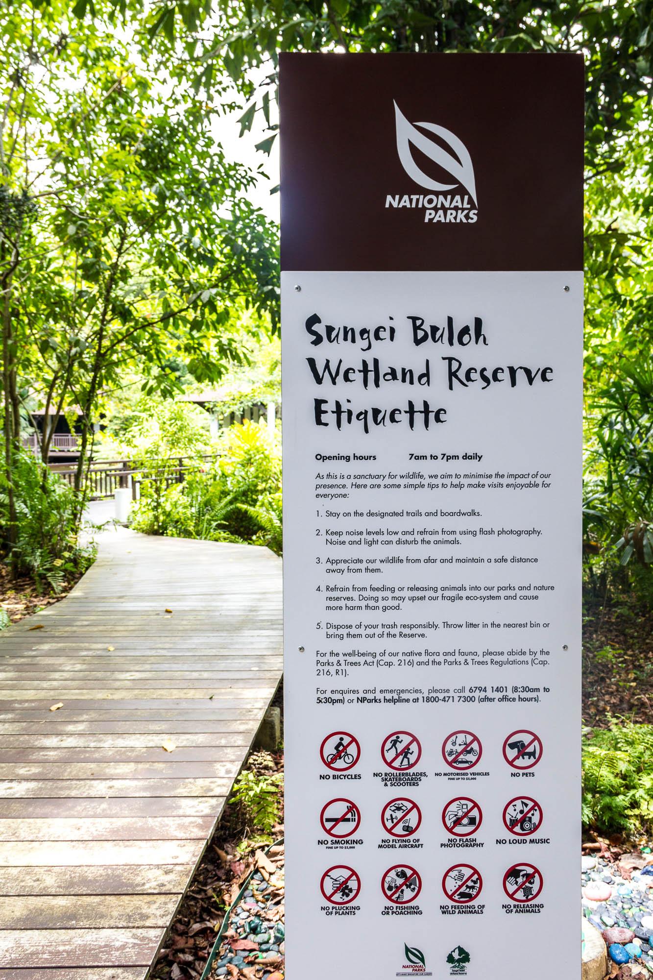 Sungei Buloh Wetland Reserve Etiquette, Kranji Countryside, Singapore