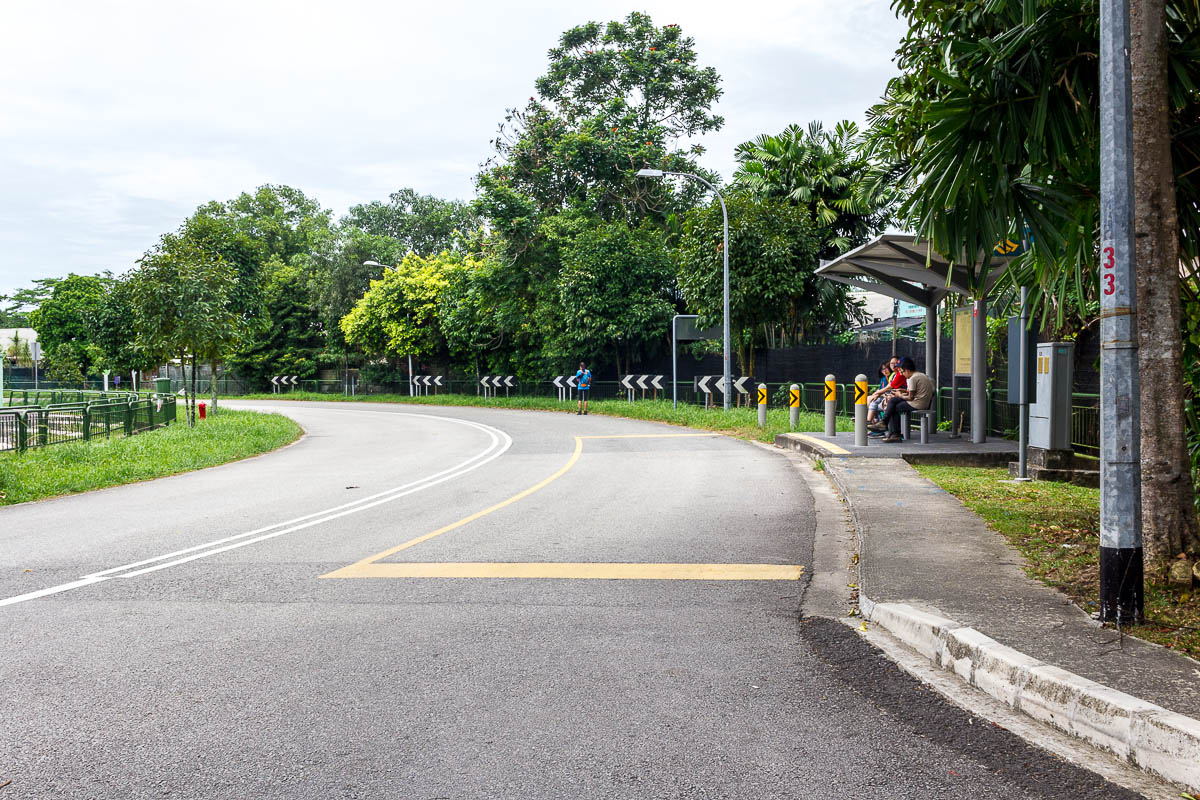 Bus 925 stop at Sungei Buloh Wetland Reserve, Kranji Countryside, Singapore