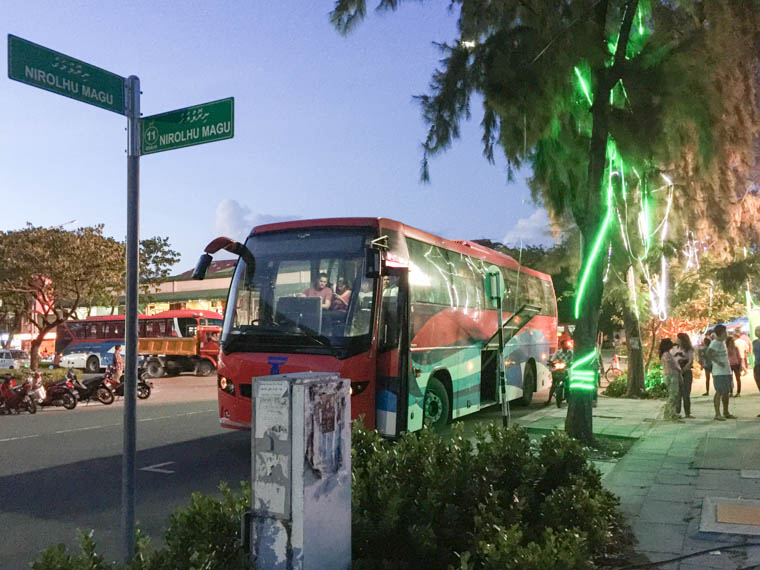 bus stop 1 in hulhumale for airport shuttle bus
