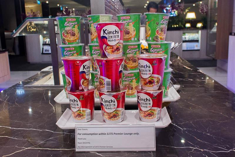 sats premier lounge changi terminal 2 - instant noodle