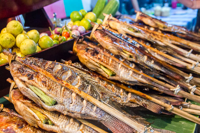 Luang Prabang Night Market food district - grilled fish