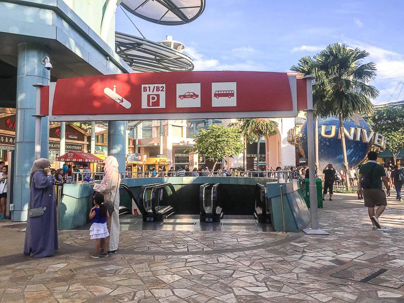 Escalator to coach bay for Bus TS8 from resort world sentosa singapore to johor bahru