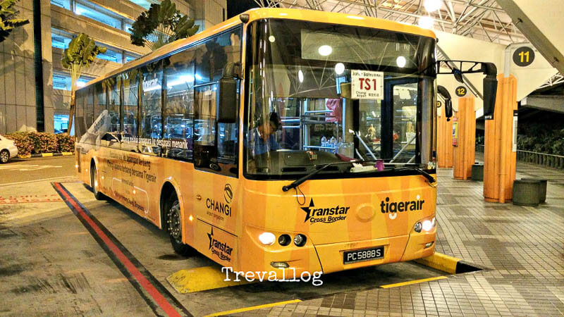 Bus TS1 at Changi Airport Terminal 2 going to Johor Bahru (JB)