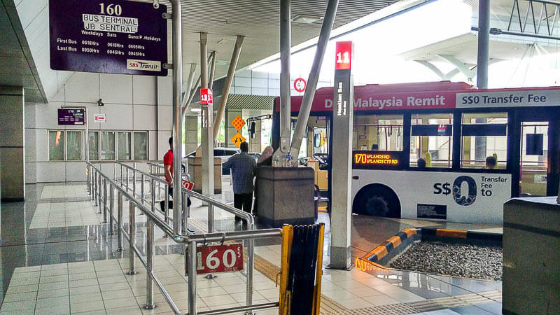 Bus 160, 170 from johor bahru checkpoint to larkin terminal or jb sentral terminal