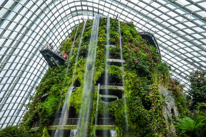 Weekend Itinerary for Budget Travellers in Singapore - Cloud Forest conservatory at Gardens by the Bay