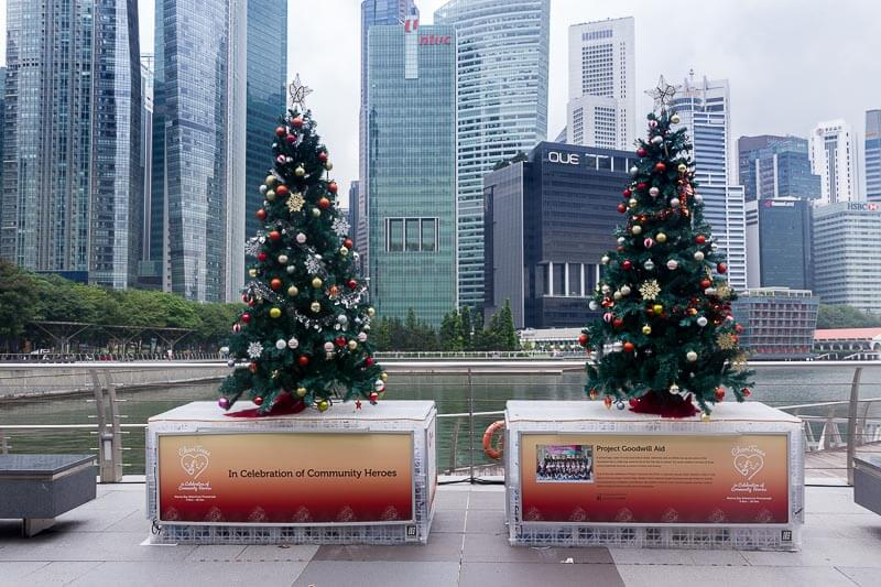 Christmas decoration and lights up in Singapore 2018 - Marina Bay Waterfront Promenade