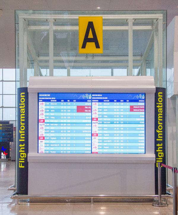 Kualanamu Medan Airport - Check in area flight info