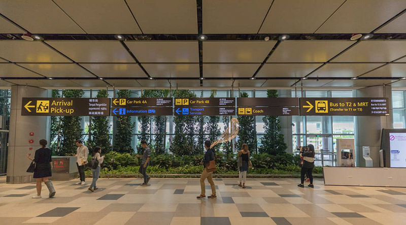Changi Airport Arrival Pick-Up sign